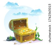 chest of gold in the sand under ...   Shutterstock . vector #1762565015