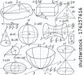 "Beautiful vector seamless pattern with mathematical figures, plots and formulas, ""handwritten on the copybook paper"". You can use any color of background"