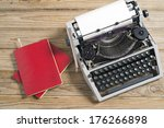 vintage typewriter and a blank... | Shutterstock . vector #176266898