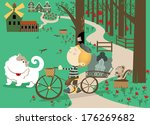 milk boy in forest  | Shutterstock .eps vector #176269682