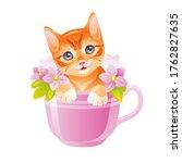 Cat Vector. Cute Kitten In...