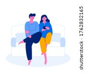 young couple sitting on sofa...   Shutterstock .eps vector #1762832165
