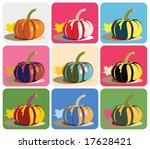 Vector drawing of pumpkin with nine pop-art color/background combinations. - stock vector