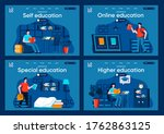 online education flat landing...