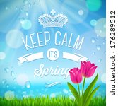 keep calm it's spring   vector... | Shutterstock .eps vector #176289512