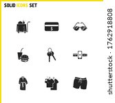 travel icons set with online...