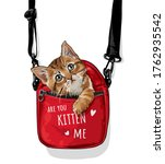 cute cat in red carry bag... | Shutterstock .eps vector #1762935542