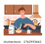 young man having a healthy... | Shutterstock .eps vector #1762953662