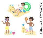 happy kids play on the beach.... | Shutterstock .eps vector #1762967795