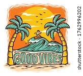 good vibes beach vector...   Shutterstock .eps vector #1762996202