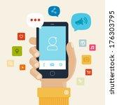 smartphone apps flat icon... | Shutterstock .eps vector #176303795