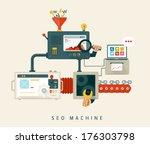 website seo machine  process of ... | Shutterstock .eps vector #176303798
