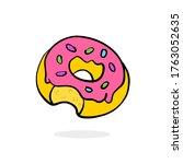 bitten donut with pink filling. ...   Shutterstock .eps vector #1763052635