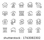 stay home icons set. collection ... | Shutterstock .eps vector #1763082302
