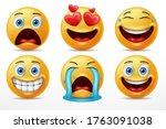 smiling faces emoticon...   Shutterstock .eps vector #1763091038