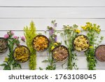 Medicinal Plants And Bowls Of...