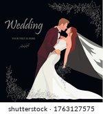 wedding card vector couple...   Shutterstock .eps vector #1763127575