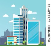company building in flat style. ... | Shutterstock .eps vector #1763129498