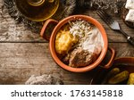 delicious polenta with meat ... | Shutterstock . vector #1763145818