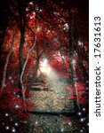 An Enchanted Red Forest With A...