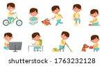 cute boy character cycling ... | Shutterstock .eps vector #1763232128