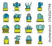 Succulent Icons Set. Outline...