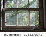 Ceramic Cat In Dirty Window Sill