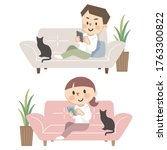 set of young men and women who...   Shutterstock .eps vector #1763300822