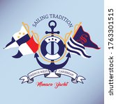 sailing team embroidery crest... | Shutterstock .eps vector #1763301515