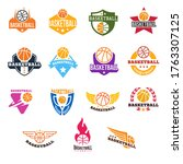 collection of basketball logo ... | Shutterstock .eps vector #1763307125