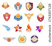 collection of basketball logo ... | Shutterstock .eps vector #1763307128