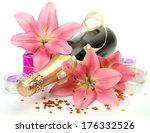 champagne and pink lilies  | Shutterstock . vector #176332526