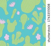 seamless pattern with prickly... | Shutterstock .eps vector #1763355008