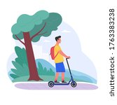 alone at the fresh air. vector... | Shutterstock .eps vector #1763383238