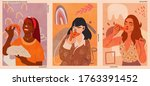 girl eating pizza. a collection ... | Shutterstock .eps vector #1763391452
