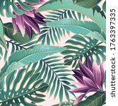 tropical palm leaves  jungle...   Shutterstock . vector #1763397335