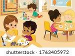 preschool class. vector... | Shutterstock .eps vector #1763405972