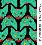 cat zombie pattern seamless....   Shutterstock .eps vector #1763419922