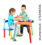 little children playing with... | Shutterstock . vector #176348336
