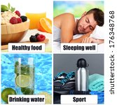 collage of healthy lifestyle | Shutterstock . vector #176348768