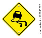 yellow slippery road sign ... | Shutterstock . vector #176349626