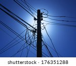 Telephone Pole With Power Line...