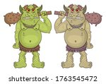 Giant Funny cartoon ogres holds a wooden clubs. Cute fantasy mythical characters. Vector cave dwellers. Design for print, emblem, t-shirt, halloween or fantasy party decoration, sticker.