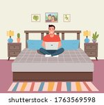 man sitting on the couch with...   Shutterstock .eps vector #1763569598