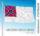 Confederate States of America official historical flag, 1863-1865, vector illustration