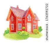 cute red scandinavian house ...   Shutterstock . vector #1763592722
