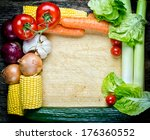 vegetables vintage border and... | Shutterstock . vector #176360552