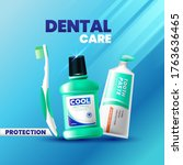 fresh toothpaste  mouthwash and ... | Shutterstock .eps vector #1763636465