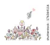 garden theme illustration with... | Shutterstock .eps vector #176364116