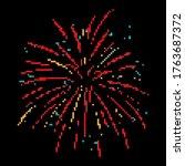 pixel firework. festive... | Shutterstock .eps vector #1763687372